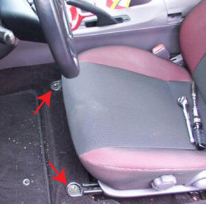 Image showing the two fron seat rail bolts